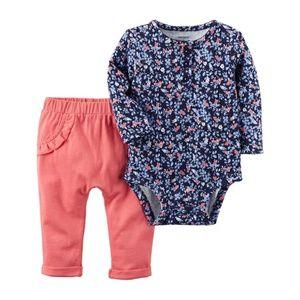 •3/$12• Floral Henley Bodysuit & Ruffle Pants Set